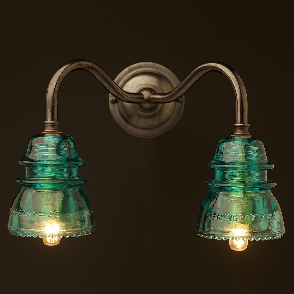 Twin hemingray insulator wall light brass twin hemingray insulator wall light arubaitofo Choice Image