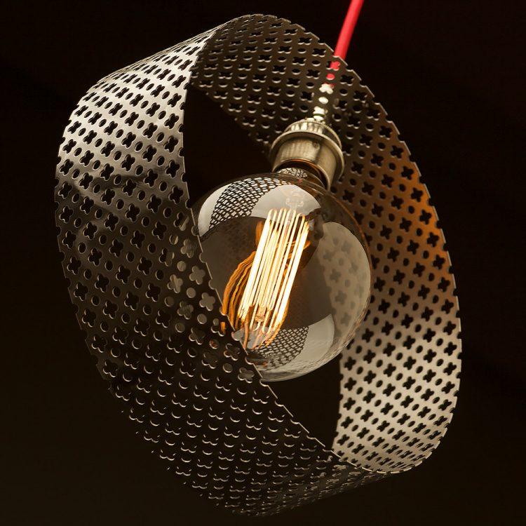 Circular club&round mesh steel vertical pendant