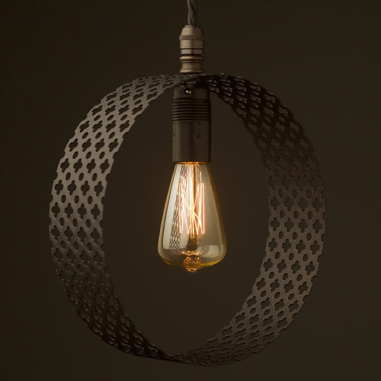 Small Circular club&round mesh steel vertical pendant