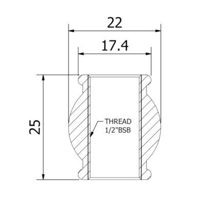 Decorative Brass coupling ESL210011 Dimensions