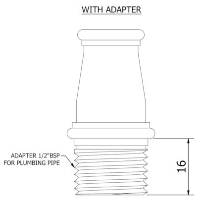 Large mounting coupler Adaptor Dimensions
