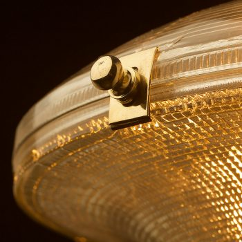 Two-piece-holophane-Ice-cream-glass-shade-pendant-brass-clamp