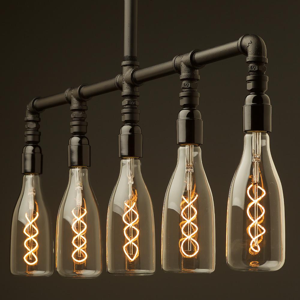 Bakelite Multi Bulb Plumbing Pipe Chandelier