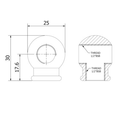 Cross tapped ball coupling dimensions