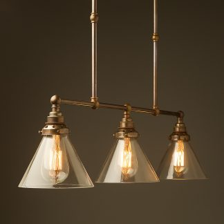 Antique Brass 3 Lamp Billiard table light clear glass cone