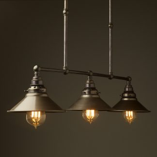 Bronze 3 Lamp Billiard table light steel hat