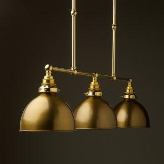 New Brass 3 Lamp Billiard table light antiqued brass shade