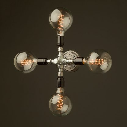 Propeller style 4 bulb pipe hub wall light