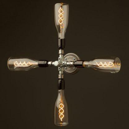 Propeller style 4 bulb pipe hub wall light LED bottle globes