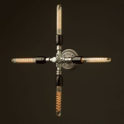 Propeller style 4 bulb pipe hub wall light 185 spiral tubes