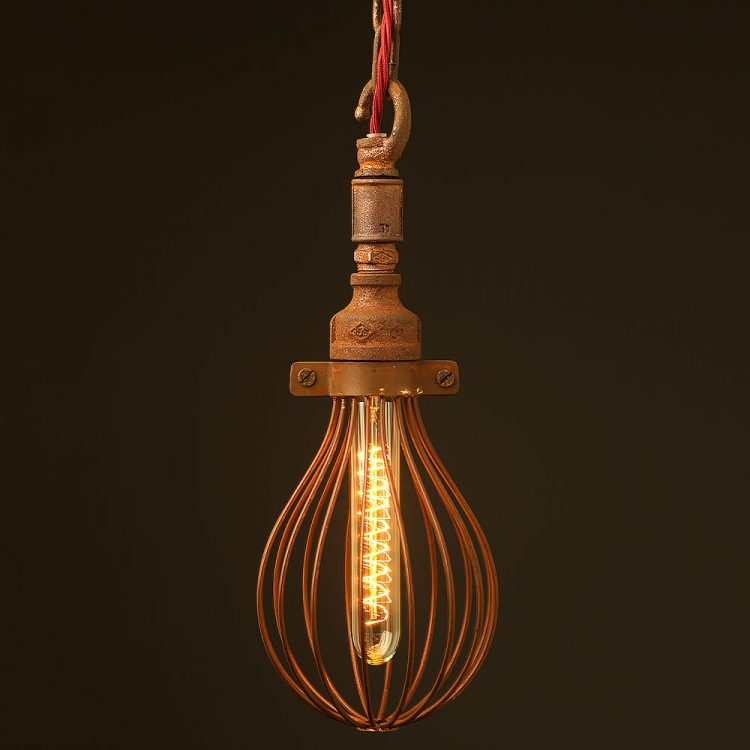 Rusty Whisk cage chain pendant