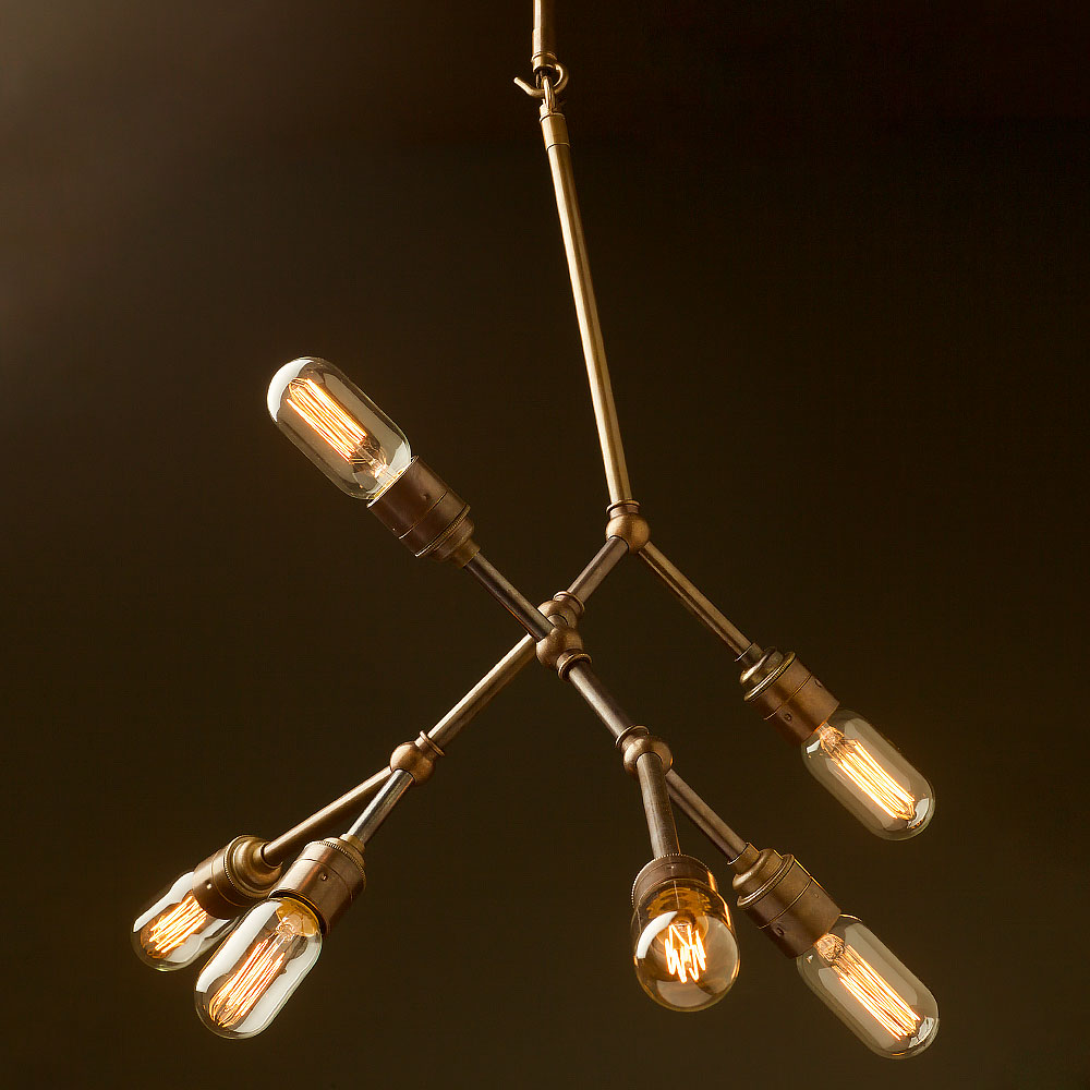 6 bulb vertical angled brass bar chandelier aloadofball Gallery