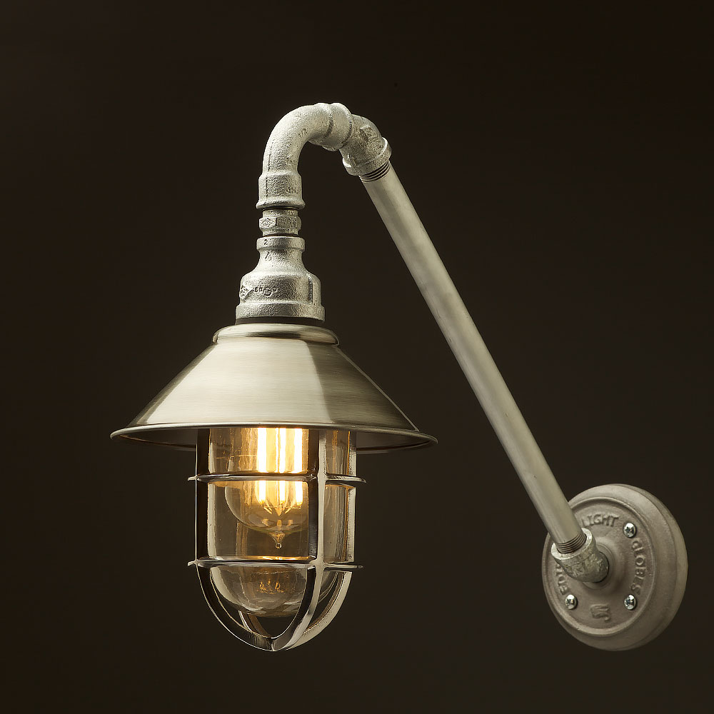 Best Rated Shop Lights: Outdoor Angled Plumbing Pipe Wall Shade Lamp