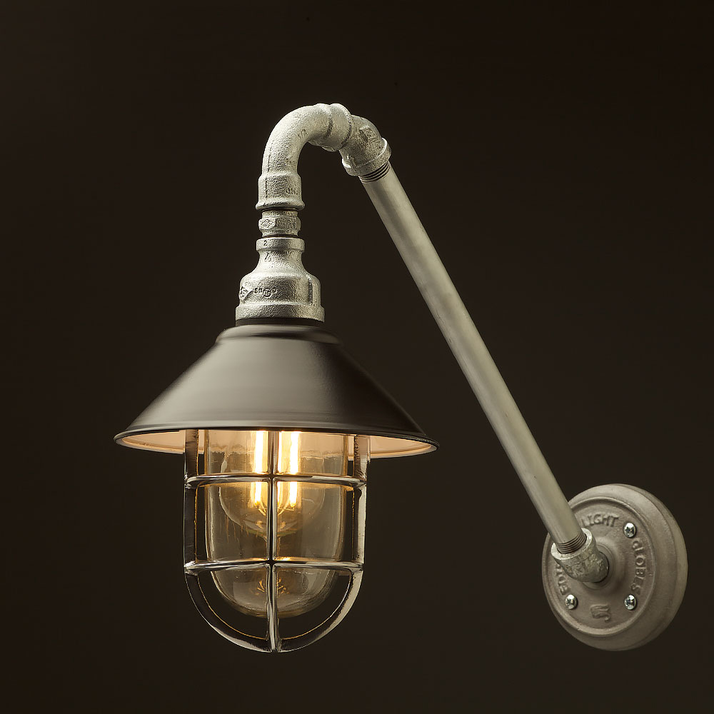 Wall Lamps With Black Shades : Outdoor Angled Plumbing Pipe Wall Shade Lamp