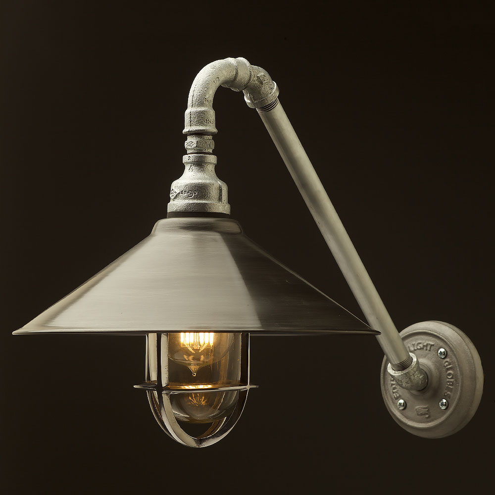Wall Fitting Lamp Shades : Outdoor Angled Plumbing Pipe Wall Shade Lamp