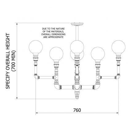 Plumbing Pipe 8 bulb formal chandelier dimensions