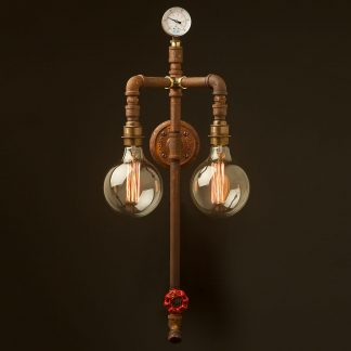 Twin bulb vertical plumbing pipe wall light G125 vintage