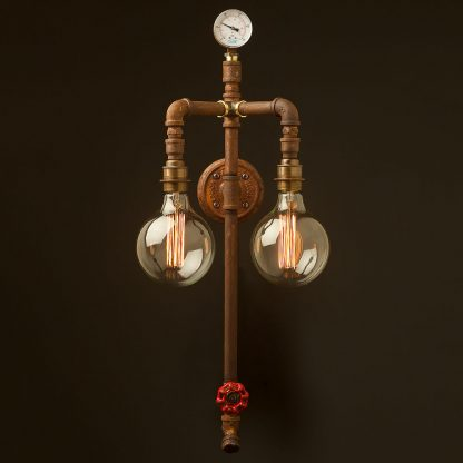 Industrial plumbing pipe twin bulb wall light