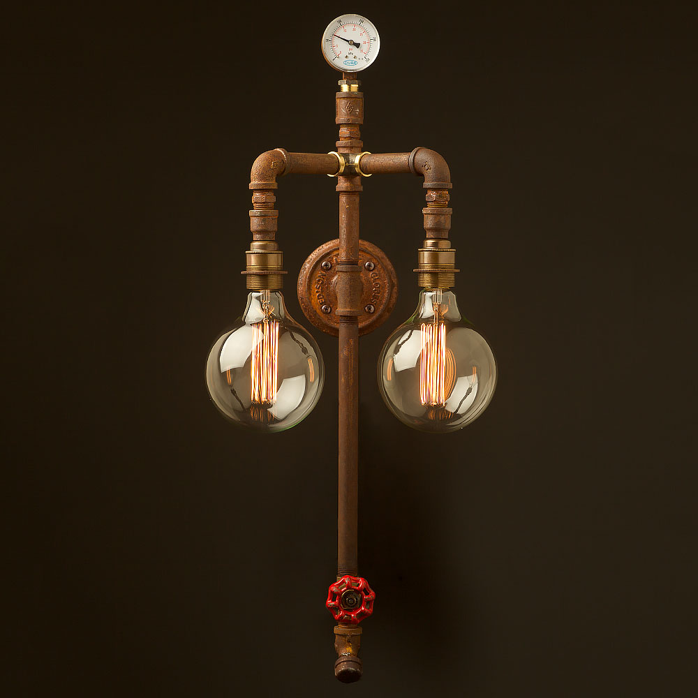 Industrial Pipe Wall Light: Industrial Plumbing Pipe Twin Bulb Wall Light