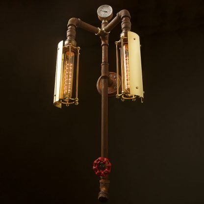Industrial plumbing pipe twin cage tube wall light