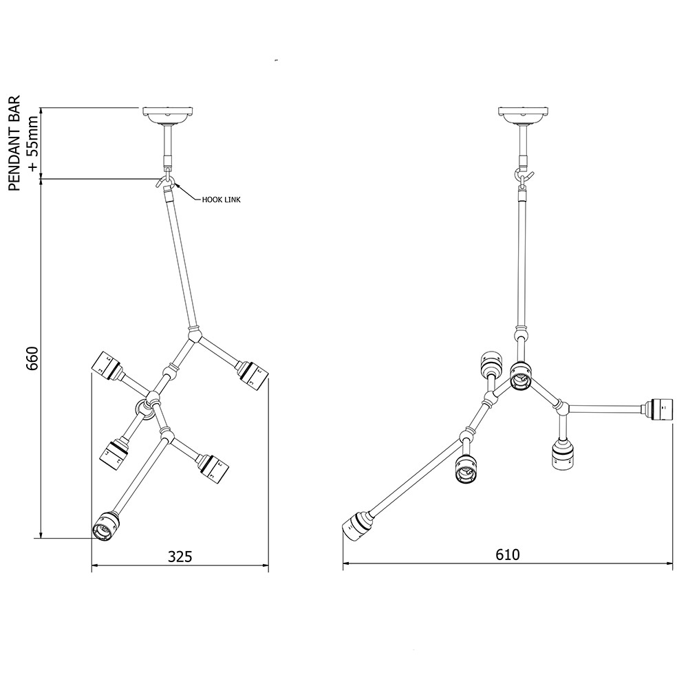 6 Bulb Vertical Angled Brass Bar Chandelier Electrical Wiring Diagram