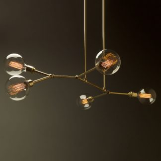 5 bulb angled brass bar chandelier