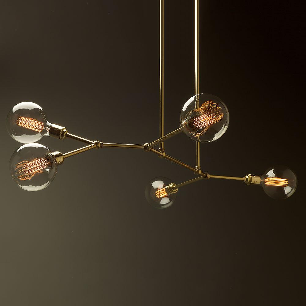 Light Bulb Light Fixture: 5 Bulb Angled Brass Bar Chandelier