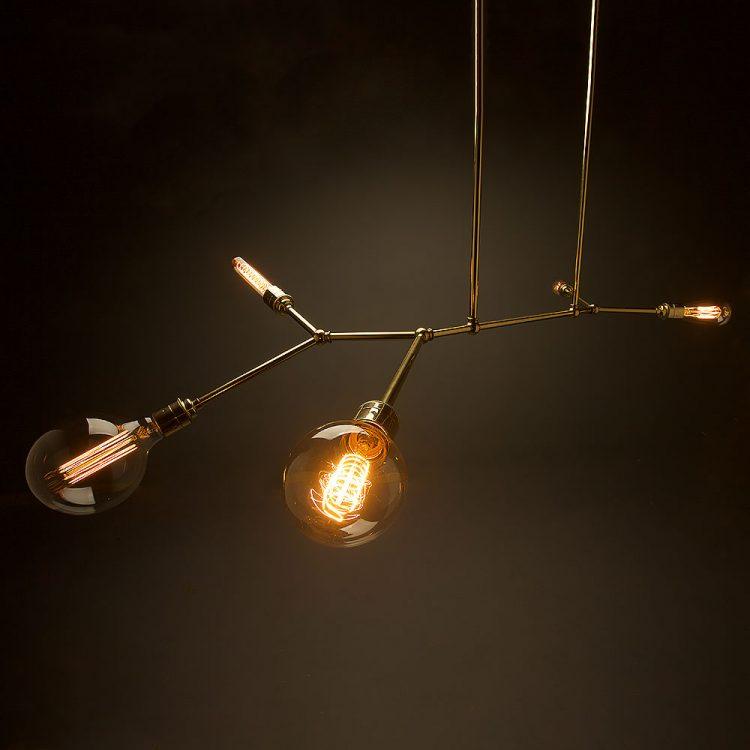 5 bulb angled brass bar chandelier