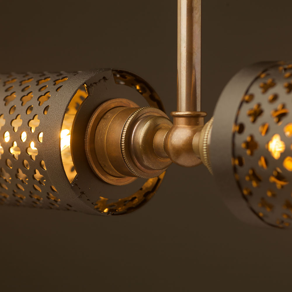 Brass twin horizontal mesh cage ceiling light aloadofball Images