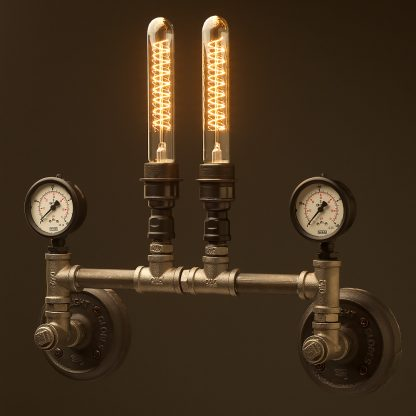 Twin tube pressure gauges wall light black steel