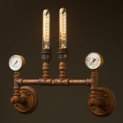 Twin tube pressure gauges wall light