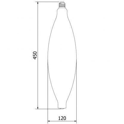 10 Watt Dimmable Filament LED CT 120 Dimensions