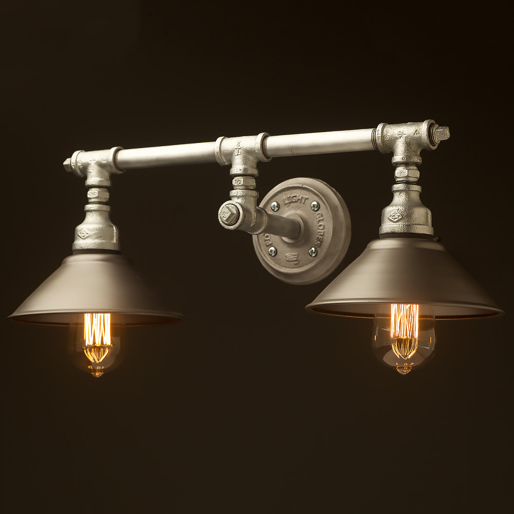 Wall Fitting Lamp Shades : Plumbing Pipe Double Wall Shade Lamp