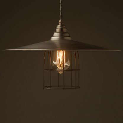 Antiqued Steel Flat Shade Cage Pendant