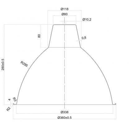 360mm enameled dome factory shade dimensions