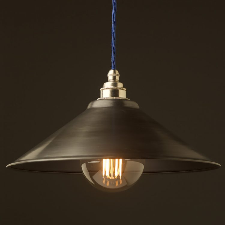 Antiqued steel light shade 310mm Pendant