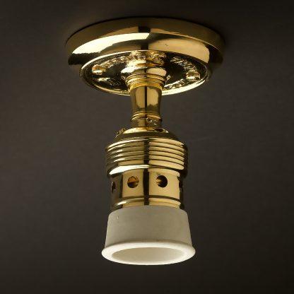 Brass Batten Holder Edison E40 fitting white