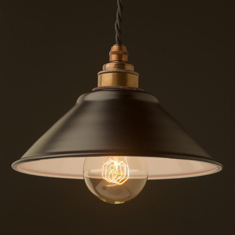Flat Black Light Shade 190mm Pendant