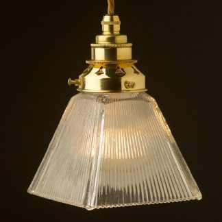 Holophane Box Glass Light Shade Pendant