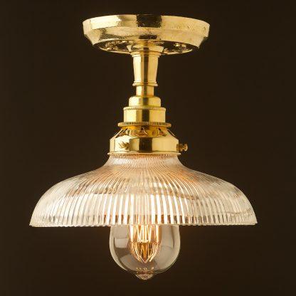 Polished brass ceiling light holophane dish