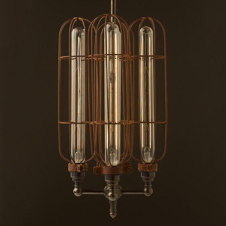 4 bulb long antiqued cage hub chandelier