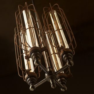 4 bulb long antiqued cage hub chandelier