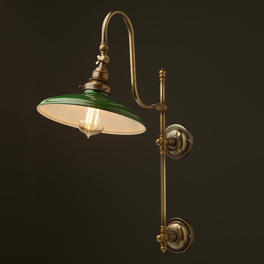 Antique Brass Adjustable Arm Wall Mount Shade Edison