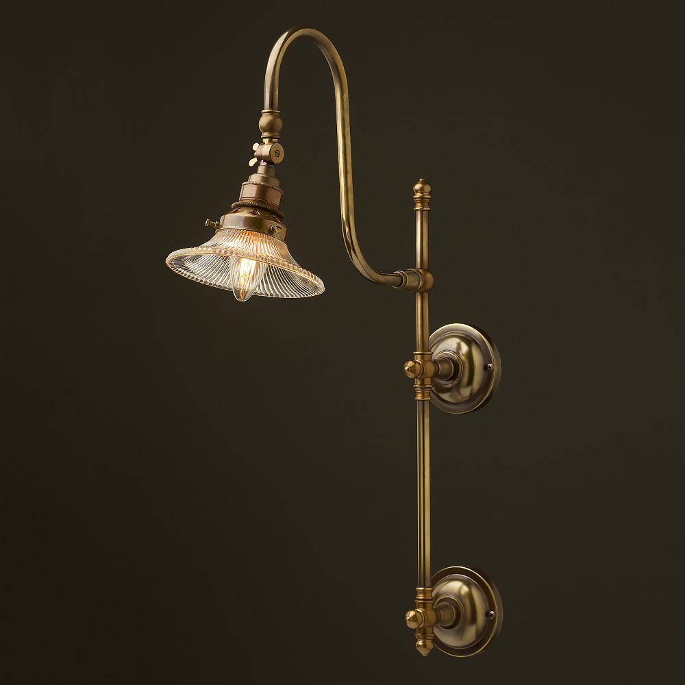 Old Fashioned Wall Lamp Shades : Antique Brass Adjustable Arm Wall Mount Shade
