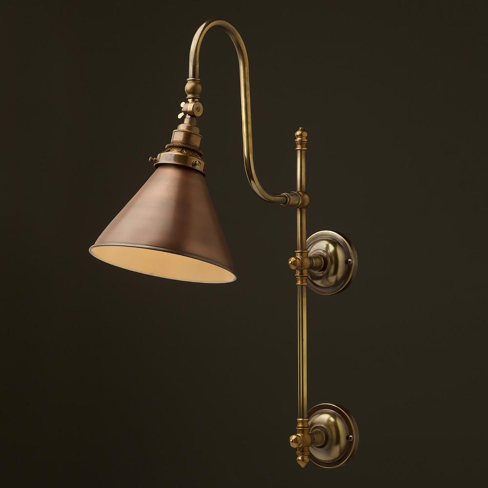 Bronze Metal Wall Lights : Antique Brass Adjustable Arm Wall Mount Shade