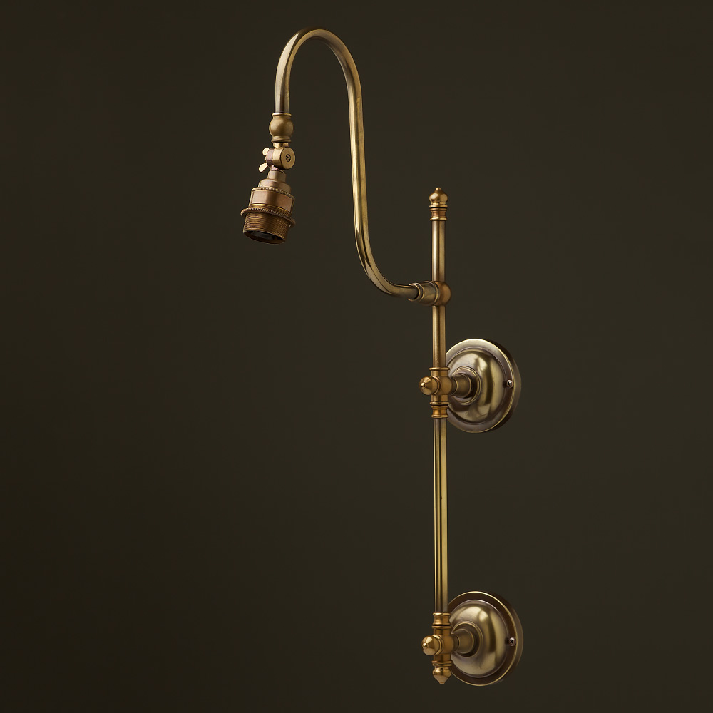 Wall Gas Lamps : Antique Brass Adjustable Arm Wall Mount Shade