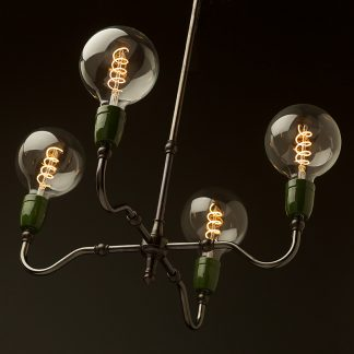 Brass four bulb green ceramic lamp holders
