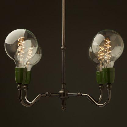 Brass four bulb green ceramic lamp holders