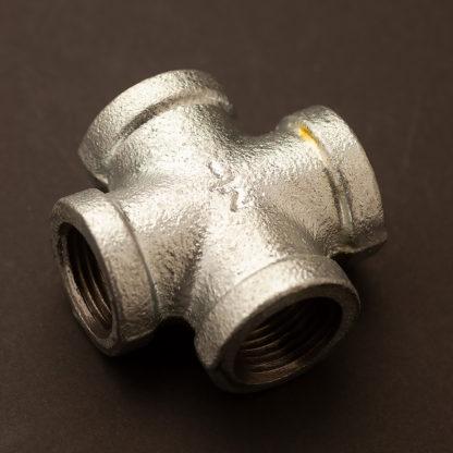 Half inch plumbing pipe cross galvanised