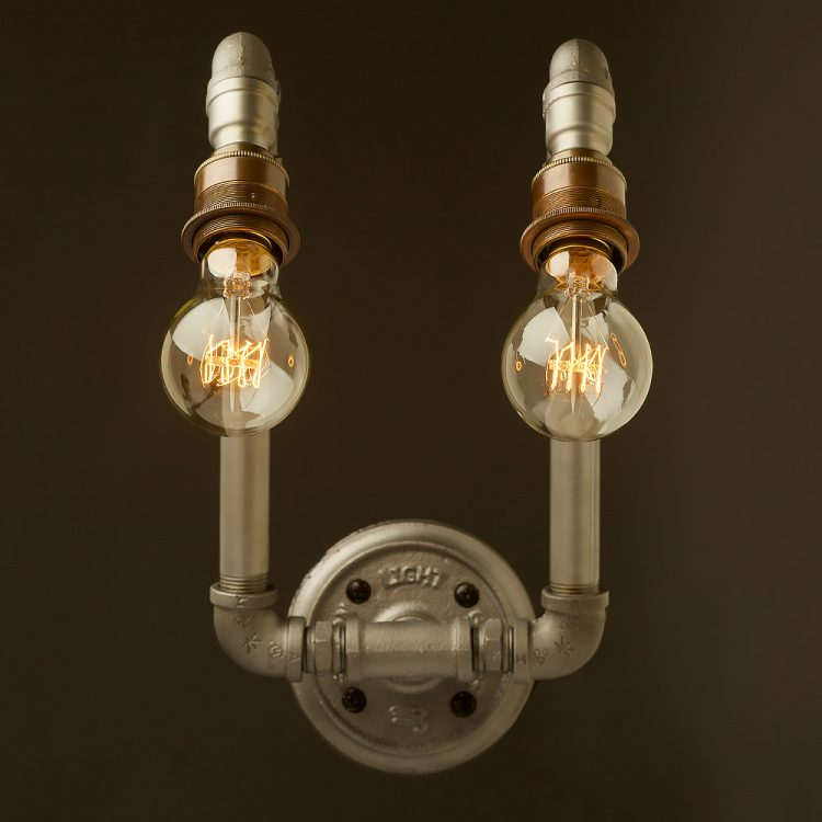 Vintage Plumbing pipe twin angled lamp wall light